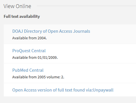 Screenshot showing several database options under the View Online heading, with different holdings