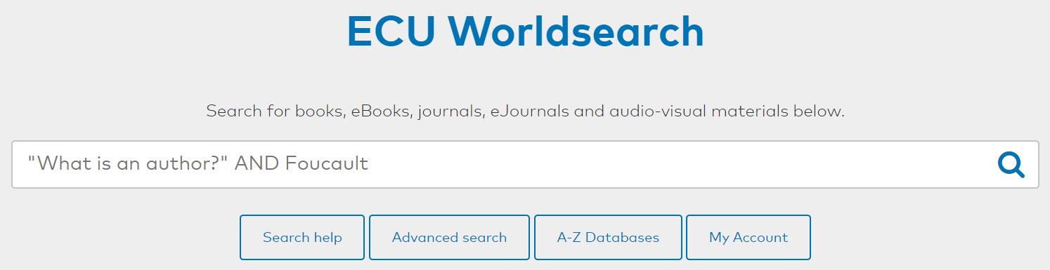 ECU Library search box