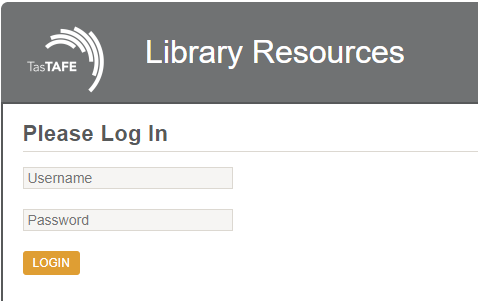 Library Resource Login Box