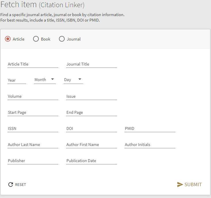 Screen shot displaying the fetch item (citation linker) page in FiNDit. Find a specific journal article, journal or book by citation information. For best results include the title, ISBN, ISSN, DOI or PMID.