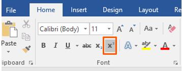 Adding superscript in Microsoft Word