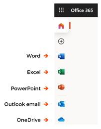 Office 365 homepage menu