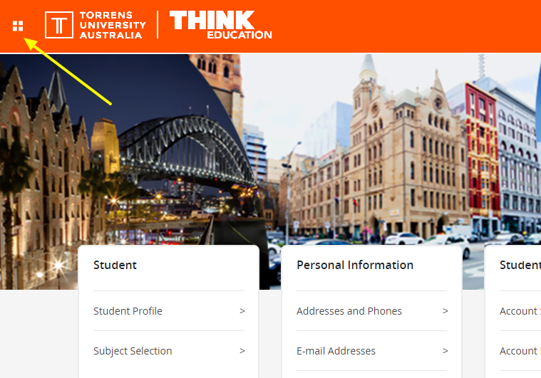 Student Portal menu location