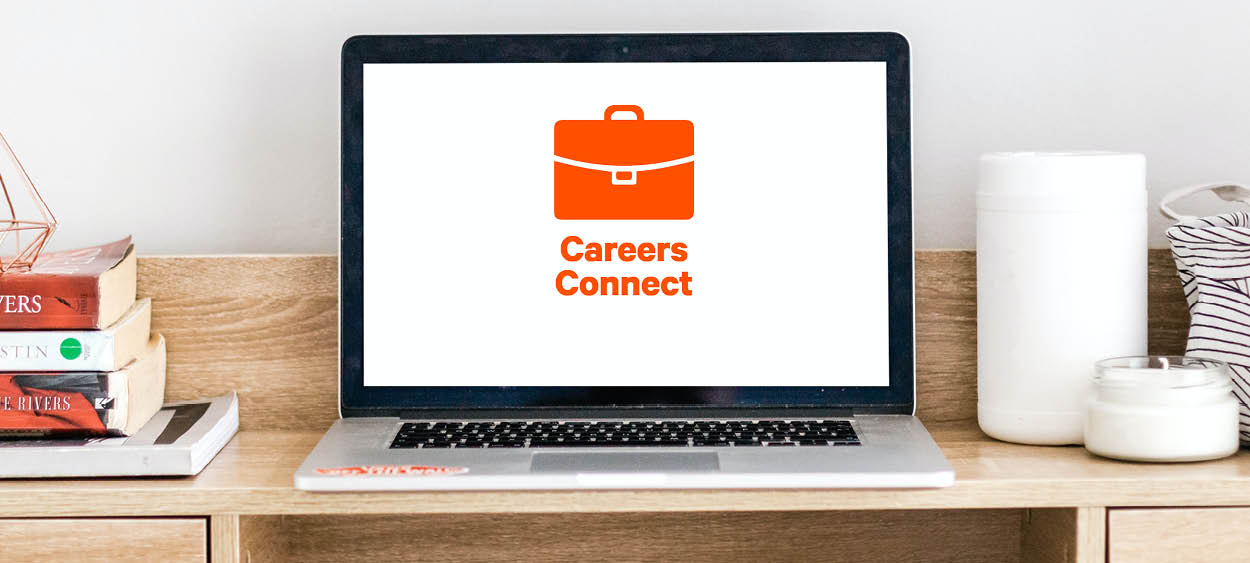 Laptop with Careers Connect logo on screen