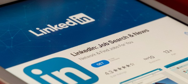 Mobile device with Linkedin on screen