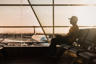 Person waiting in airport depature lounge