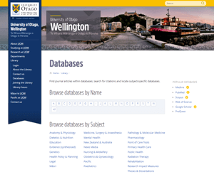 UOW databases page