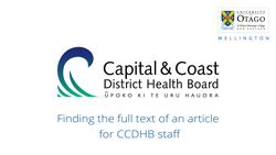 Find full text articles using Ketu - CCDHB users