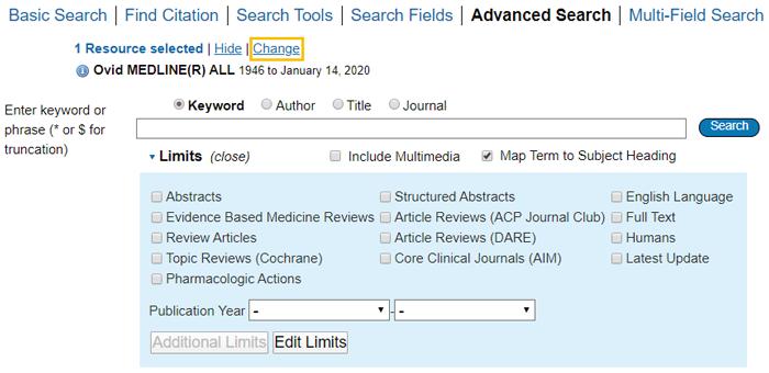 Medline - Change Ovid database link