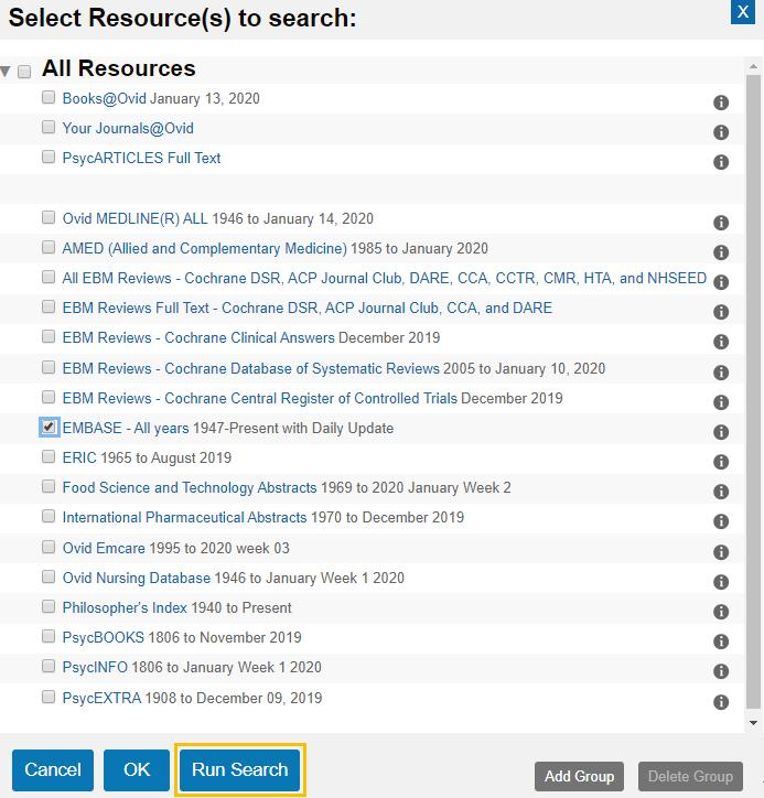 Medline - Change Ovid databases list