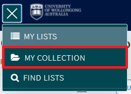 Top left menu open with 'My Collection' button selected.