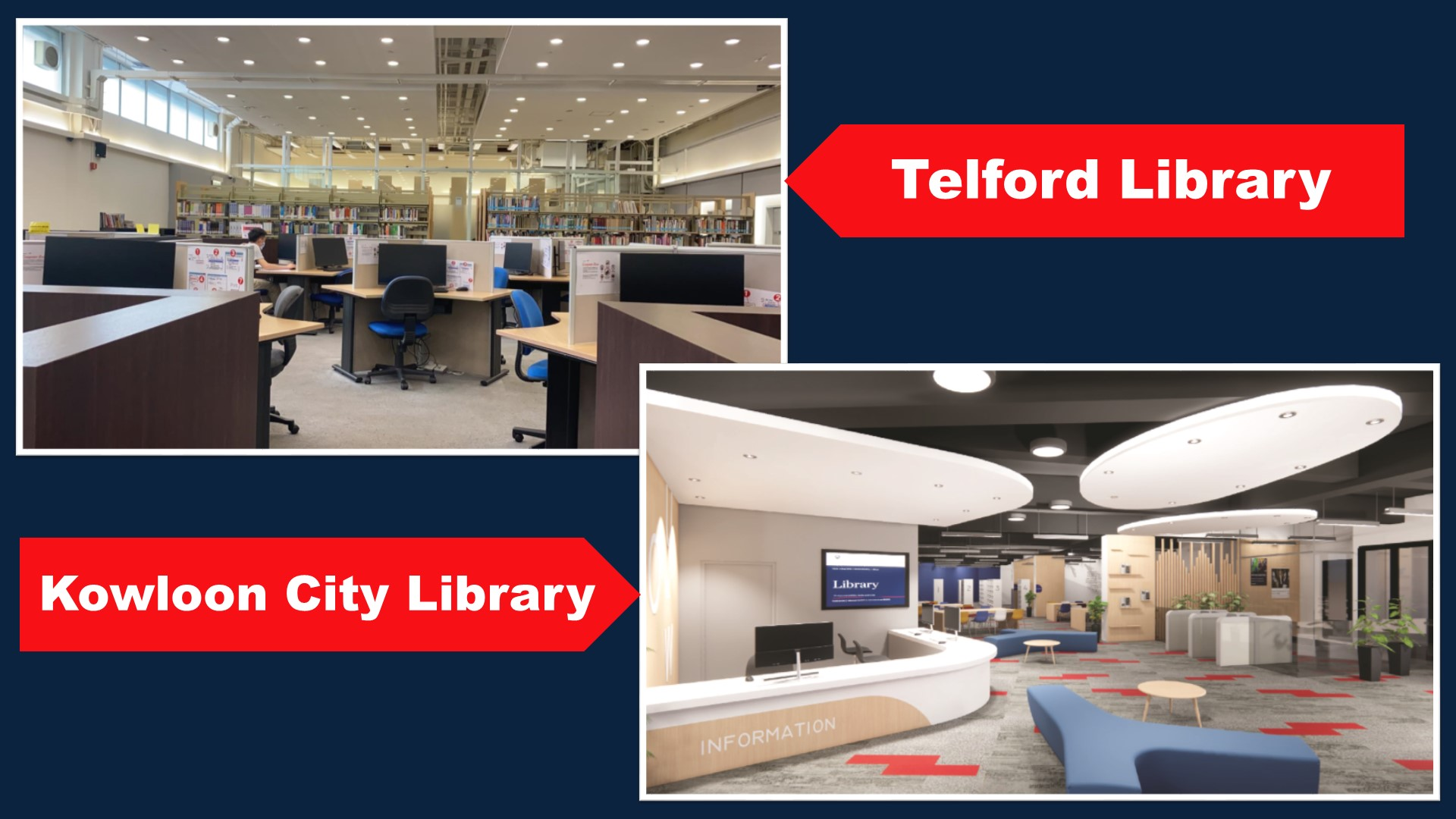 Photos of study spaces at Telford and Kowloon libraries.