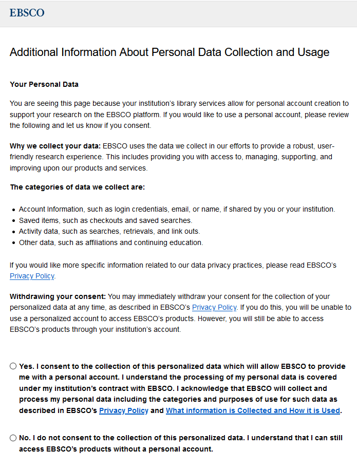 EBSCOhost consent pop up