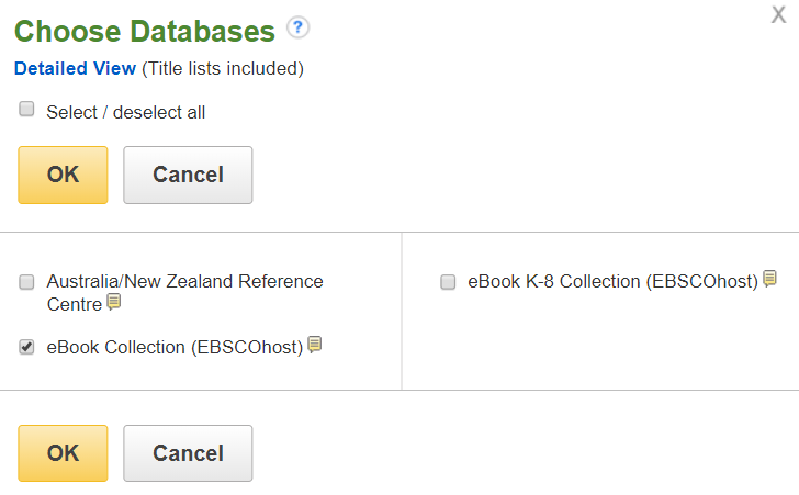 Choosing and EBSCOhost database step 2