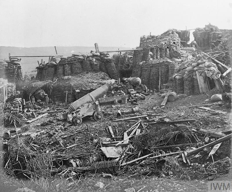 View of the ruined interior of the Great Redan, Sevastopol. Crimean War 1854-56