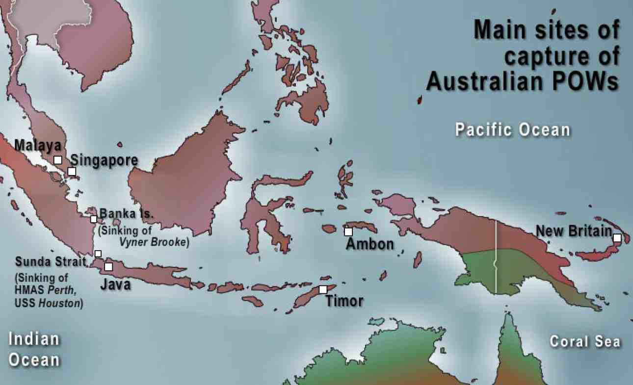 Locations in South East Asia where Australians were captured,