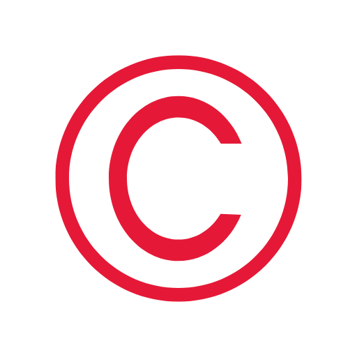A red Copyright logo of a capital C in a circle