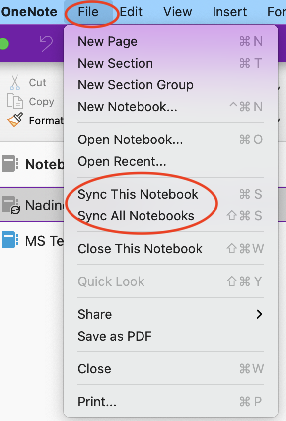 sync notebook