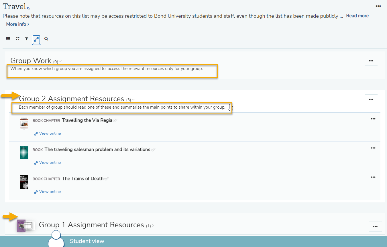 Resource List section descriptions and indents