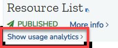 Show usage analytics